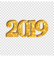 happy new year shiny gold number 2019 golden vector image vector image