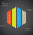 Hexagon template consists of four color parts on vector image vector image