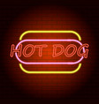 hot dog logo neon light icon realistic style vector image