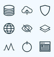 interface icons line style set with conceal vector image