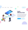 isometric data protection concept successful vector image vector image