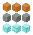 Isometric game brick cubes set vector image vector image