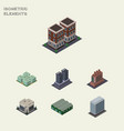 isometric urban set of warehouse industry tower vector image vector image