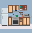 kitchen room interior flat vector image
