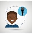 man microphone audio speaker vector image