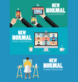 new normal lifestyle technology concept vector image vector image