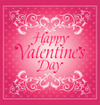 pink happy valentines day background card with flo vector image vector image