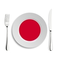 Plate with flag of Japan vector image
