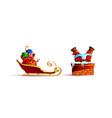 santa claus stuck and sleigh bag gifts presents vector image
