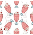 Seamless pattern color cherry milkshake scetch vector image