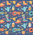 seamless pattern with country music elements vector image
