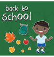 stickers back to schoolWith a child backpack apple vector image vector image