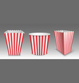 striped bucket for popcorn hen wings or legs pack vector image