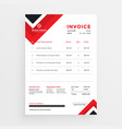 stylish red business invoice template design vector image