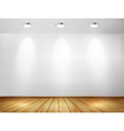 Wall with spotlights and wooden floor Showroom vector image vector image