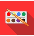 Watercolors and paintbrush icon flat style vector image vector image