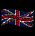 waving great britain flag pattern of spoon icons vector image