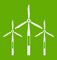 wind generator turbines icon green vector image vector image