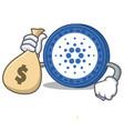 with money bag cardano coin character cartoon vector image