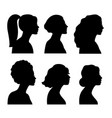 young girls side silhouettes vector image vector image