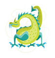 cartoon green fantasy animal dragon vector image