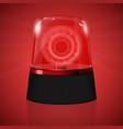red siren flashing emergency light vector image