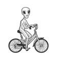 alien rides a bicycle sketch vector image
