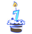 birthday cake with number seven on white vector image vector image