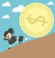 business woman run money trap vector image vector image