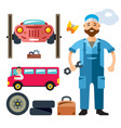 car mechanic flat style colorful cartoon vector image vector image