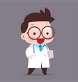 cartoon of young male doctor vector image vector image