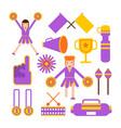 cheerleaders girls team and sport club vector image