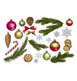 christmas and new year decoration set with pine vector image vector image