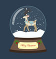 christmas snow globe with deer vector image vector image