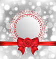 Christmas snowflake card with gift bow and rose vector image vector image