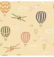 colorful seamless pattern hand drawn hot air vector image vector image
