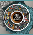 cup coffee and automobile doodles on a saucer vector image