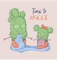 cute cartoon postcard cacti grandmother and vector image