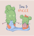 cute cartoon postcard cacti grandmother vector image vector image