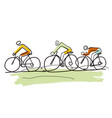 cycling trip line art stylized cartoon vector image vector image