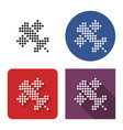 dotted icon satellite in four variants vector image vector image