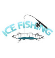 fishing rod and ice hole underwater fishing vector image