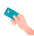 flat hand holding credit card isolate on white vector image vector image
