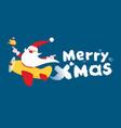 flying santa christmas greeting card vector image