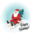 funny santa claus sledding with mountains vector image
