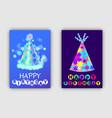 happy birthday postcards set vector image vector image