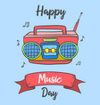 Happy music day celebration card style vector image
