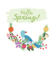 hello spring lettering with bird flower branch vector image