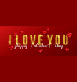 i love you valentines day greeting card with gold vector image vector image