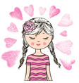 loving cute little girl vector image